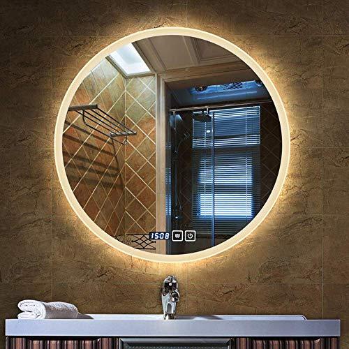 Oanzryybz Hohe Qualität Badezimmerspiegel Led Beleuchtet Rund beleuchteter Make-up-Beleuchtung Vanity Kosmetik Wandaufbauleuchte Schlafzimmer Touch-Anti-Fog (Color : Warm Light, Size : 70×70CM)