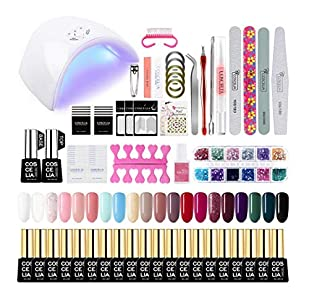 Saint-Acior Secador de Uñas 36W UV/LED Lámpara Uñas Esmaltes Semipermanentes Nail Art Esmaltes en Gel 20pcs Kit Uñas de Gel Soak off 8ml Base Coat Top Coat Manicura Pedicura Kit