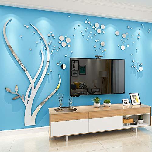 Pegatinas de pared Espejo creativo árbol acrílico 3d adhesivos de pared dormitorio sala de estar sofá TV fondo adhesivos de pared decorativo autoadhesivo @ Silver-left_Extra grande