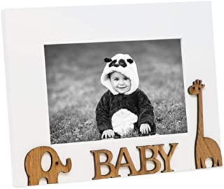 Isaac Jacobs Wood Sentiments Picture Frame, 4x6 inch (Baby 4x6 inch, White)
