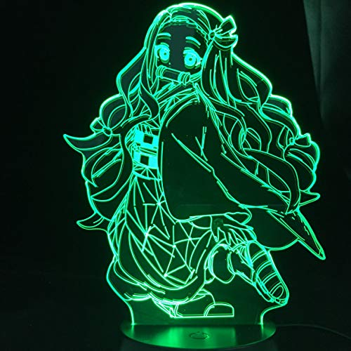 Kimetsu No Yaiba Nezuko Kamado Figure 3D Led Night Light for Bedroom Decor Nightlight Kids Child Table 3d Lamp Demon Slayer Gift