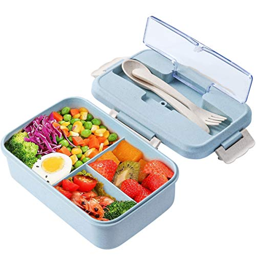 Lunch Box, 3 Compartment Sealed Bento Box and Cutlery Set Lunch Boxes for Kid Adult Work School,...
