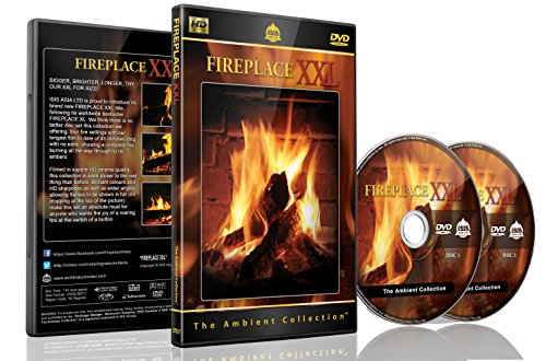 Fireplace DVD | Fireplace XXL | 2 DVDs Set with Double Extra Long Fires with Burning Wood Sounds