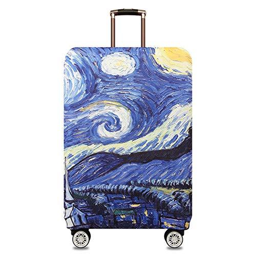 Cubierta de Equipaje Funda de Maleta M:22-24 Inch con Cremallera Funda Maleta Suave elástico de Anti-Polvo(Cielo Estrellado de Van Gogh)