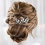 Simsly Horquillas para el pelo de novia de cristal plateado para el cabello con diamantes de imitación para novia, accesorios para el cabello para mujeres y niñas (paquete de 3)