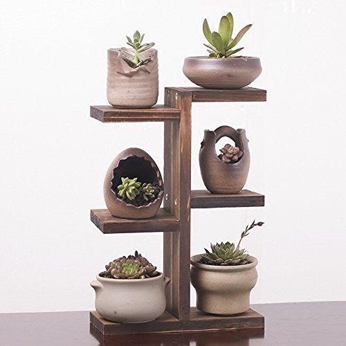 QFF Porte-fleurs en bois massif / pots à fleurs en bois à plusieurs étages bureau balcon intérieur salon étagère à fleurs ( taille : 25*10*39cm )