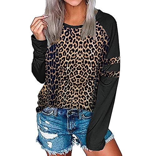 HOSD de con Cuello de Leopardo Estampado de Redondo Suéter Costuras Callejero con Estilo de para Mujer Manga de Larga otoño