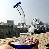 Mini plataformas de Dab de aceite de 6 pulgadas en línea Perc de vidrio grueso Bong 14mm tubería de agua conjunta con banger de cuarzo (Azul)