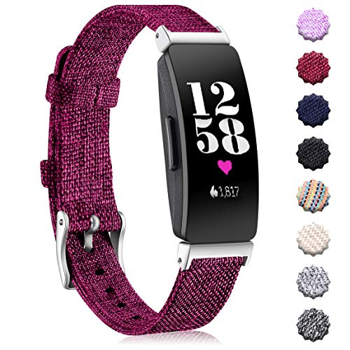 Maledan Bands Compatible with Fitbit Inspire HR/Inspire and Ace 2, Soft Woven Fabric Accessories Strap Watch Band Replacement for Inspire and Inspire HR Activity Tracker Women Men, Small, Fuchsia
