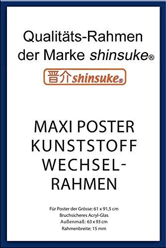 empireposter Wechselrahmen Shinsuke® Maxi-Poster 61,5x91cm Qualitätsrahmen, Profil: 15mm - Kunststoff Blau, Acrylscheibe beidseitig foliengeschützt