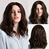 ATAYOU® Peluca Corto Marrón Oscuro Lace Front - Short Lace Front Wigs Dark Brown Synthetic Wig for Women Soft Wavy Heat Resistant Hair Wigs Free Part Hairline with Wig Cap