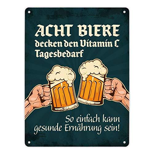 trendaffe - Metallschild XL mit Bier Motiv und Spruch: Acht Biere Decken den Vitamin C Tagesbedarf. So einfach kann gesunde Ernährung Sein.