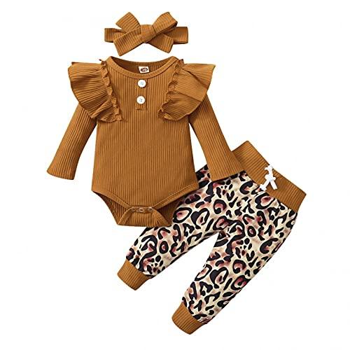 LovelyAngel Conjunto de 3 piezas de ropa de niña de bebé para otoño, invierno y bebé + pantalones estampados + diadema para bebé, para bautizos, carnavales y Navidad