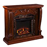 SEI Furniture Cardona Carved Wood & Faux Marble Electric Fireplace, Walnut