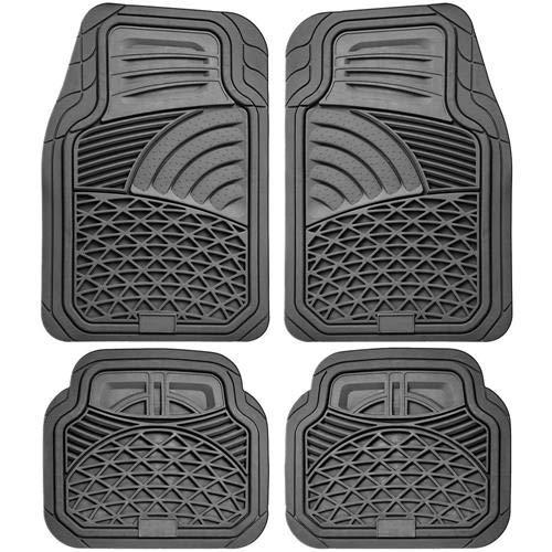 Universal Rubber Floor Mats All Season Custom Fit All Cars 4 Piece Grey