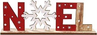 mi ji Ornements Lettres en Bois avec Flocon de Neige Boule de Noël avec l'impression de Table Décoration de Noël Décoratio...