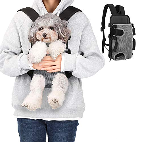 Ownpets Legs Out Front Dog Carrier, Hands-Free Adjustable Pet Carrying Backpack, Ideal for Small & Medium Cat, Dog