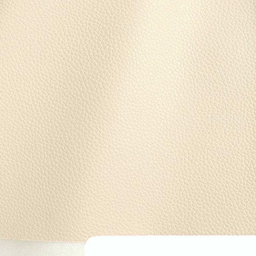 TOLKO Lederimitat mit Rindsleder Optik | weiche Premium Meterware | für Stuhl Bank Sessel Sofa Sitzbezug 140cm breit | Kunstleder Bezugstoff Polsterstoff Polsterbezug Möbelstoff (Elfenbein)