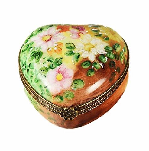 Porcelaine de Limoges Boîte Coeur fleurs