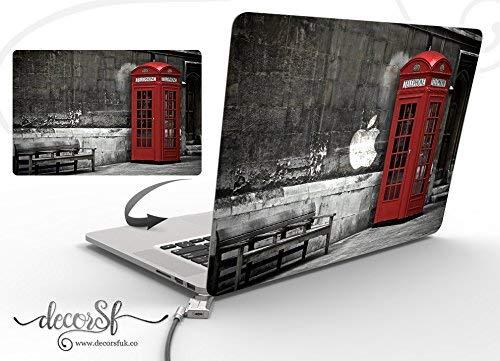 Lsmaa London macbook sticker - macbook 13 inch cover - macbook decal - macbook wrap- stickers voor macbook - zwart vinyl/beste stickers/vintage/snor/hipster