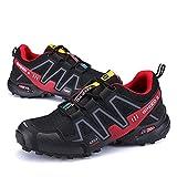 WYUKN Zapatos Casuales de Ciclismo MTB, Zapatos de Bicicleta de Carretera al Aire Libre para Hombres, Zapatos de Trekking, Zapatillas de Senderismo Ligeras, Zapatos para Correr,Black-45EU