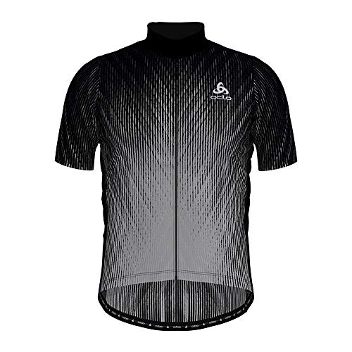Odlo Stand-up Collar s/s Full Zip Element Print Shirt Homme Black - odlo Silver Grey FR : M (Taille Fabricant : M)