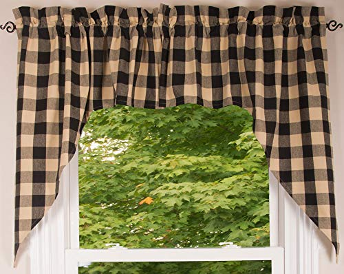 """Buffalo Check Black and Tan 72"""" x 36"""" Lined Cotton Curtain Swag by Primitive Home Decors"""