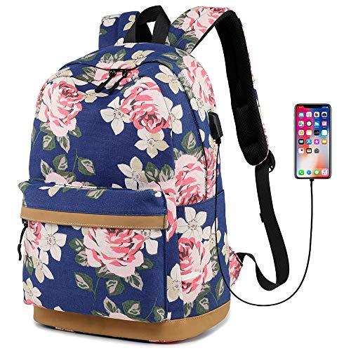MORGLOVE Blumen Schulrucksack Mädchen Teenager Canvas Freizeit Groß Rucksack Damen mit USB und Viel Platz für Schule Uni Dunkelblau