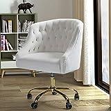 Velvet Fabric Swivel Task Chair for Home Office - Ivory