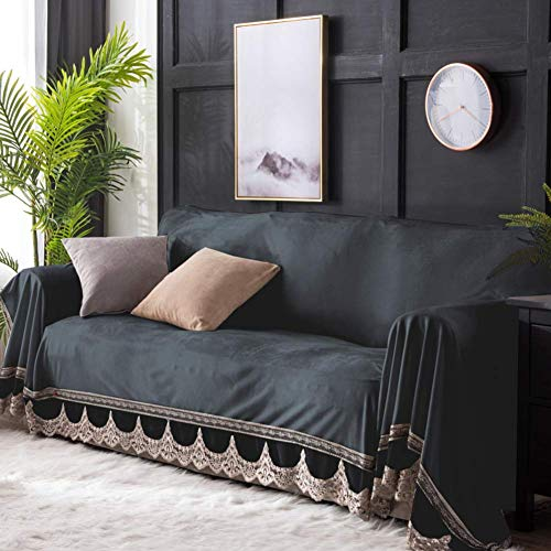 Jonist Funda de sofá Espesa de Terciopelo de Cristal con Encaje, Funda de sofá de Color sólido Antideslizante Funda de sofá Duradera Protector de Muebles-Gris 200x350cm (79x138inch)