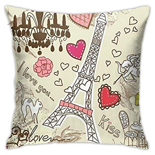 87569dwdsdwd Doodle Illustration of Eiffel Tower Heart Square Pillow Case Home Sofa Decorative 18' X 18'Inch Ultra Soft Comfortable