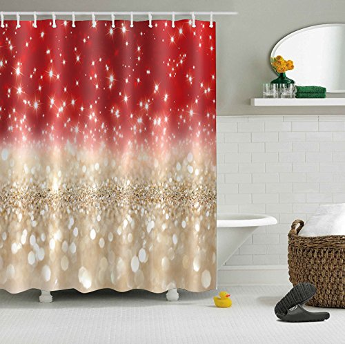 LB Red Gold Glitter Shower Curtain Romantic Printed Bling Sparkling (No Glitter) Art Decor Light Shine Girly Shower Curtain Sets, 70 x 70 Inch Waterproof Fabric Bathroom Curtains with Hooks