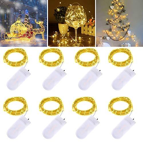 Luci a LED Fairy String - 3m 30 LED Funziona a batteria Filo di rame Impermeabile Luci della stringa per vacanza Nozze Festa Natale Fai da te Interno All'aperto decorazioni, Bianco caldo, 8 pezzi