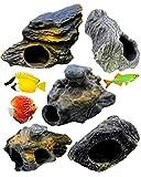 Dr. Musgo Piedra cíclidos 5pc Lote Rock de cerámica Cueva Acuario Decoración Fish Tank Decor–