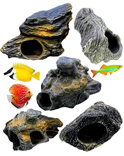 DR. Moss Cichlid Stone 5 pc Luxury Set - Ceramic Rock Cave Aquarium Decorations - Fish Tank Decor