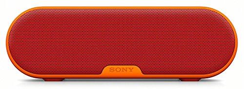 Sony SRS-XB2 tragbarer kabelloser Lautsprecher (Extra-Bass, wasserabweisend, NFC, Bluetooth, 12 Stunden Akkulaufzeit) rot