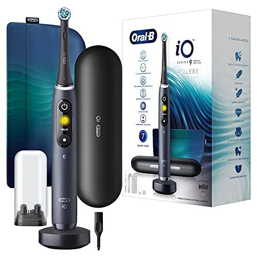 Oral-B iO 9 Special Edition Elektrische Zahnbürste/Electric Toothbrush mit Magnet-Technologie & Mikrovibrationen, 7 Modi, 3D-Zahnanalyse, Farbdisplay, Lade-Reiseetui & Beauty-Tasche, black onyx