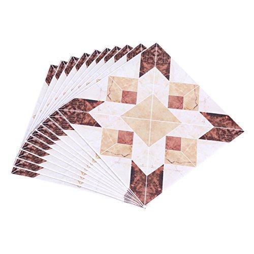 Wytino Pegatinas para el Piso, 10 Piezas Autoadhesivas de PVC, baldosas para el Suelo, Pegatinas de Pared, calcomanía 3D, decoración para el hogar, 12 CM * 12 CM(# 1)