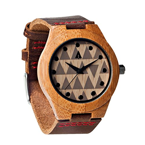 Treehut Men's Wooden Bamboo Watch with Genuine Leather Strap Quartz Analog wi.