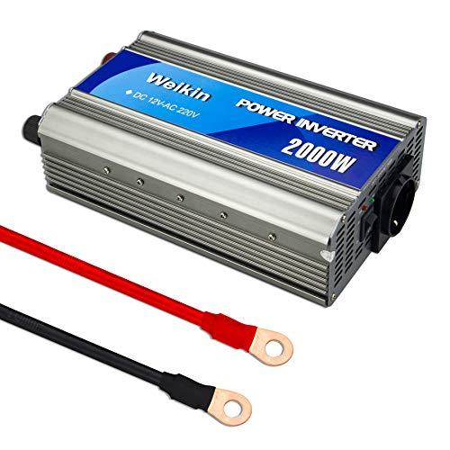 weikin Spannungswandler 2000W Wechselrichter DC 12V zu AC 220V Steckdose nach europäischem Standard, sowohl im Auto als auch zu Hause