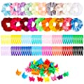 150 Pcs Velvet Hair Scrunchies Hair Snap Clips Set 20Pcs Velvet Hair Scrunchies 80Pcs Candy Color Snap Clips 50Pcs Mini Butterfly Claw Clips Hair Barrettes Hair Accessories for Women Lady