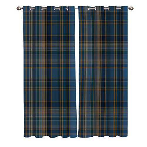 T&H Home Curtain Panel for Bedroom/Patio Door - Plaid Curtains, Classic Tartan Plaid Cells Stripes Geometric Pattern Window Treatment Set for Sliding Door, Look Semi Drapes - 80' W by 63' L