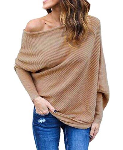Damen Loose Fledermausärmel Sweatshirt Sexy Off Shoulder Pullover Casual Strick Oberteile Langarm T-Shirt Tops Frauen, Khaki, S