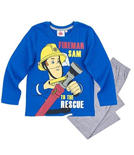 Feuerwehrmann Sam Jungen Pyjama - blau - 116