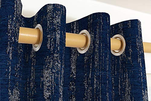 McAlister Textiles Cortinas de chenilla con textura, 2 paneles, diseño de colores azul marino, cortinas y cortinas, con ojales de algodón totalmente forrados de ancho 167 cm x 182 cm