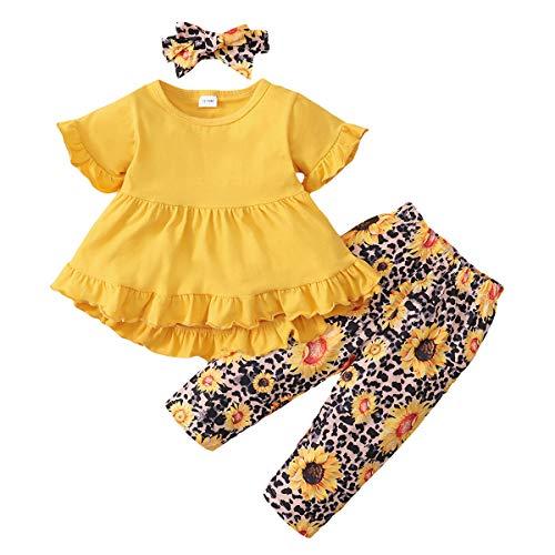 Conjunto de Ropa Infantil para Bebé Niña 12 Meses-4 años, Top de Manga Larga + Pantalones de Leopardo + Cinta para el Cabello de 3 Piezas, Traje de Niñas Primavera y Verano