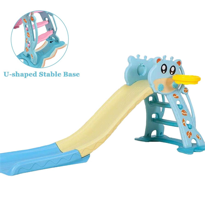 子供のスライド折りたたみ式、子供のおもちゃボールフレームとバスケットボール、ペダルセットと波のスライド1.70メートルで屋内家庭の幼稚園のスライド、1-6歳の赤ちゃんに適して,Blue