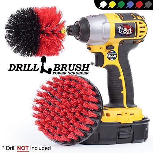 Drillbrush 2 pulgadas de di/ámetro peque/ño taladro Ronda Desarrollado r/ígido Adjunto friega el cepillo para la limpieza de servicio pesado di/ámetro de 2 pulgadas negro rojo