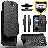 Kyocera DuraForce Pro 2 Case, With[Tempered Glass Screen Protector] Circlemalls Dual Layers Combo Holster With Built-In stand Hybird Shockproof Phone Cover And Stylus Pen E6910 E6900-Holster Black