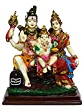 The Indie Quirk Shiv Parvati Ganesha Shiv Parivar Gift Statue Idol Showpiece Sculpture Murti Lxhxw (cm) = 12.5X14X7 Decorative Showpiece - 14 cm (Polyresin, Multicolor)